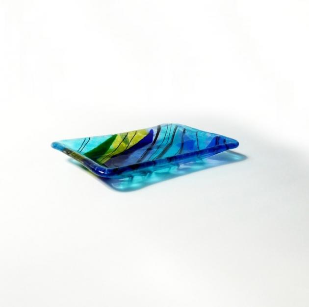 寧靜藍系列 B_琉璃小長盤 1